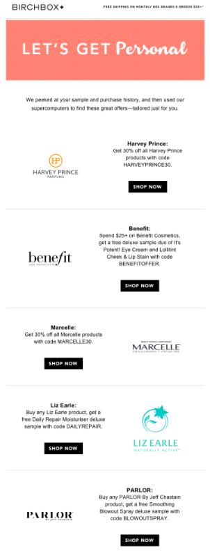 Esempio di e-mail personalizzata Birchbox