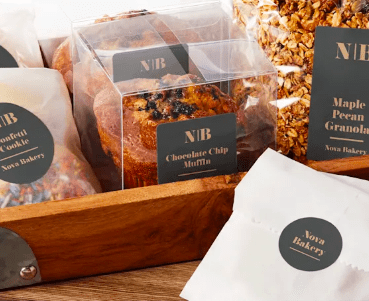 Adesivi per esempio di packaging alimentare
