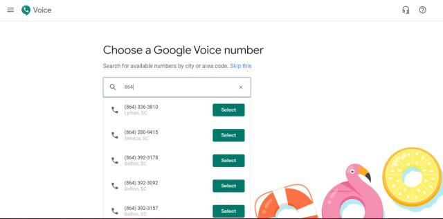Choice a Google Voice number