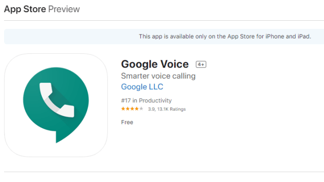 Google Voice Application in app store