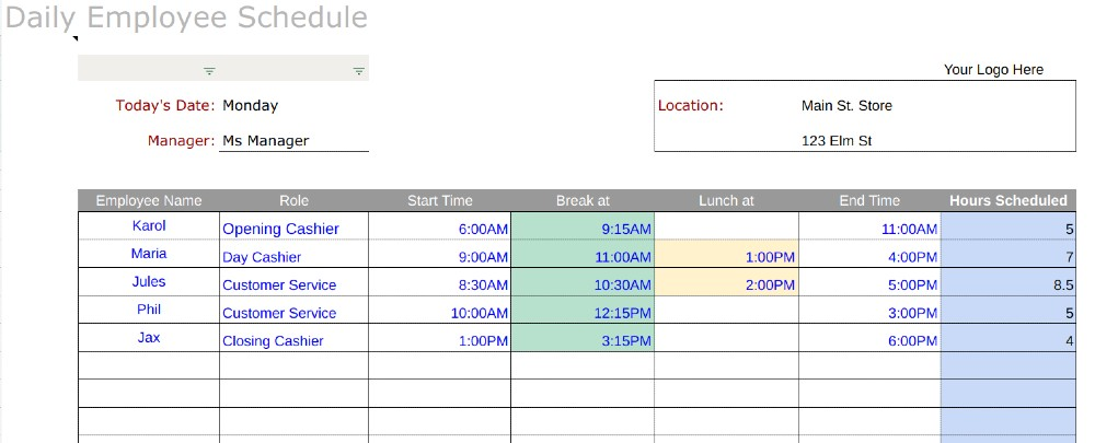 """""""it takes money to make money. Free Employee Schedule Templates Instructions"""