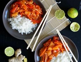 Sos słodko-kwaśny z ryżem