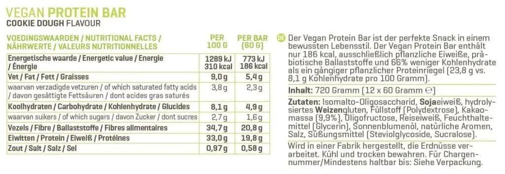 Body & Fit Vegan Protein Bar Test der Nährwerte