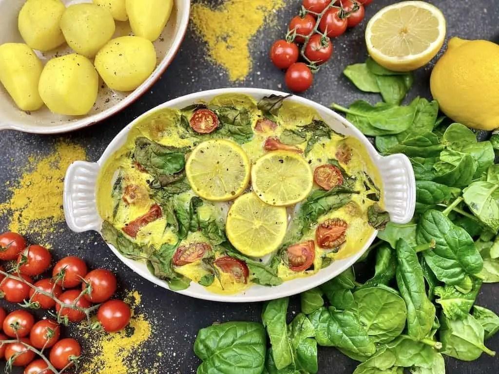 Orientalischer Ofenfisch auf Spinat