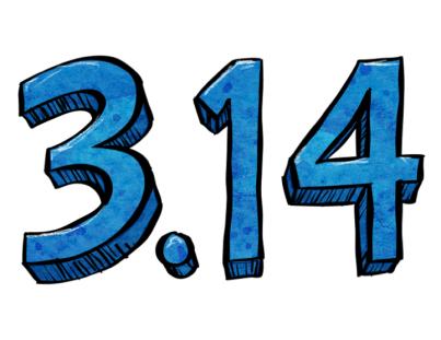 Pi Day numerals in blue