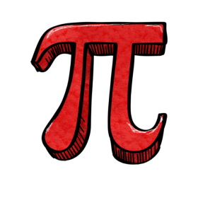 Pi Day symbol in red
