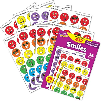 Scratch-n-sniff sticker sets make adorable inexpensive gifts for students!
