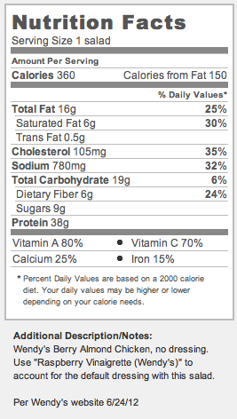 Nutrition Facts For Wendys Berry Almond Chicken Salad