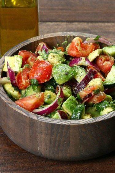 avocado, cucumber, tomato salad