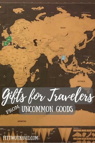 Great gifts for travelers from Uncommon Goods including a travel map, bags, and globes Fittwotravel.com