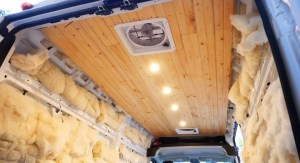 Plank Ceiling Installation Van Build2