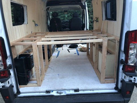 how to build a bed frame in a van