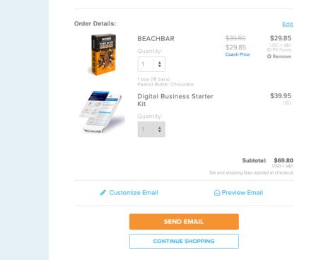 Shopping cart for new coach when using shareacart
