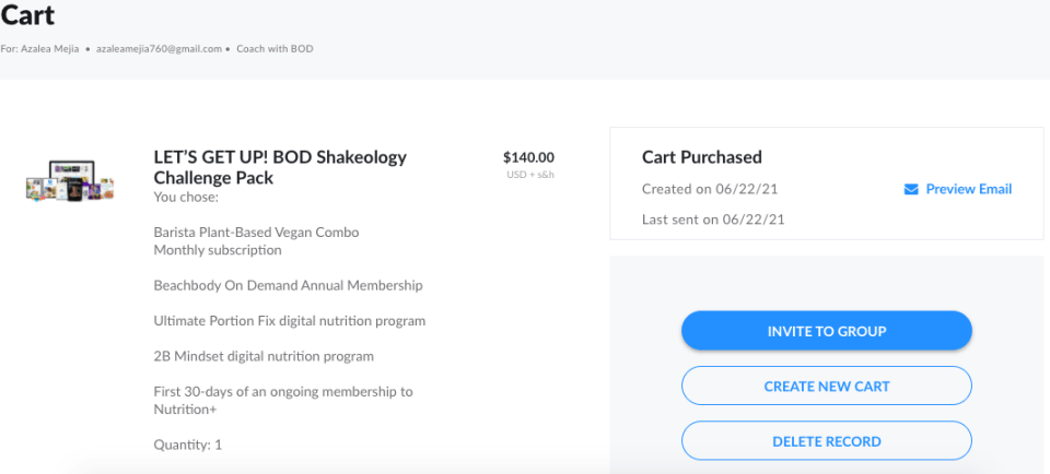 View cart example