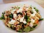 Salade met geitenkaas en pasta