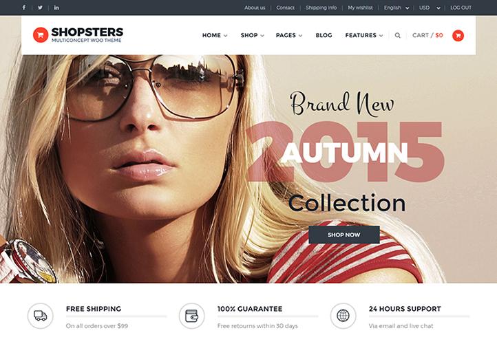 Shopsters WordPress Theme Desktop