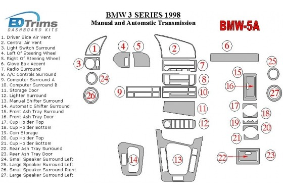 BMW 3 1998-1998 Manual Gearbox & Automatic Gear, 27 Parts