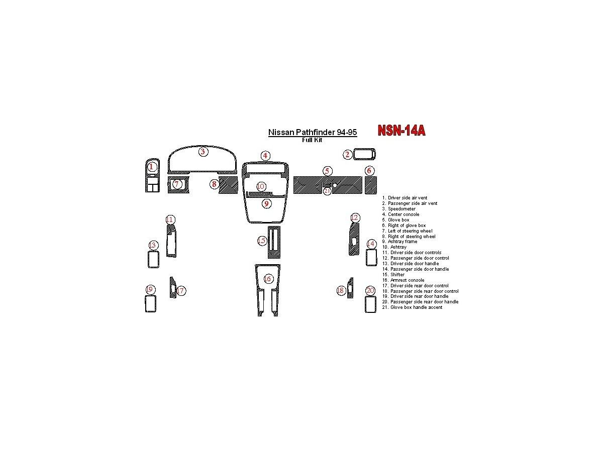 Nissan Pathfinder 1994-1995 Full Set, 21 Parts set