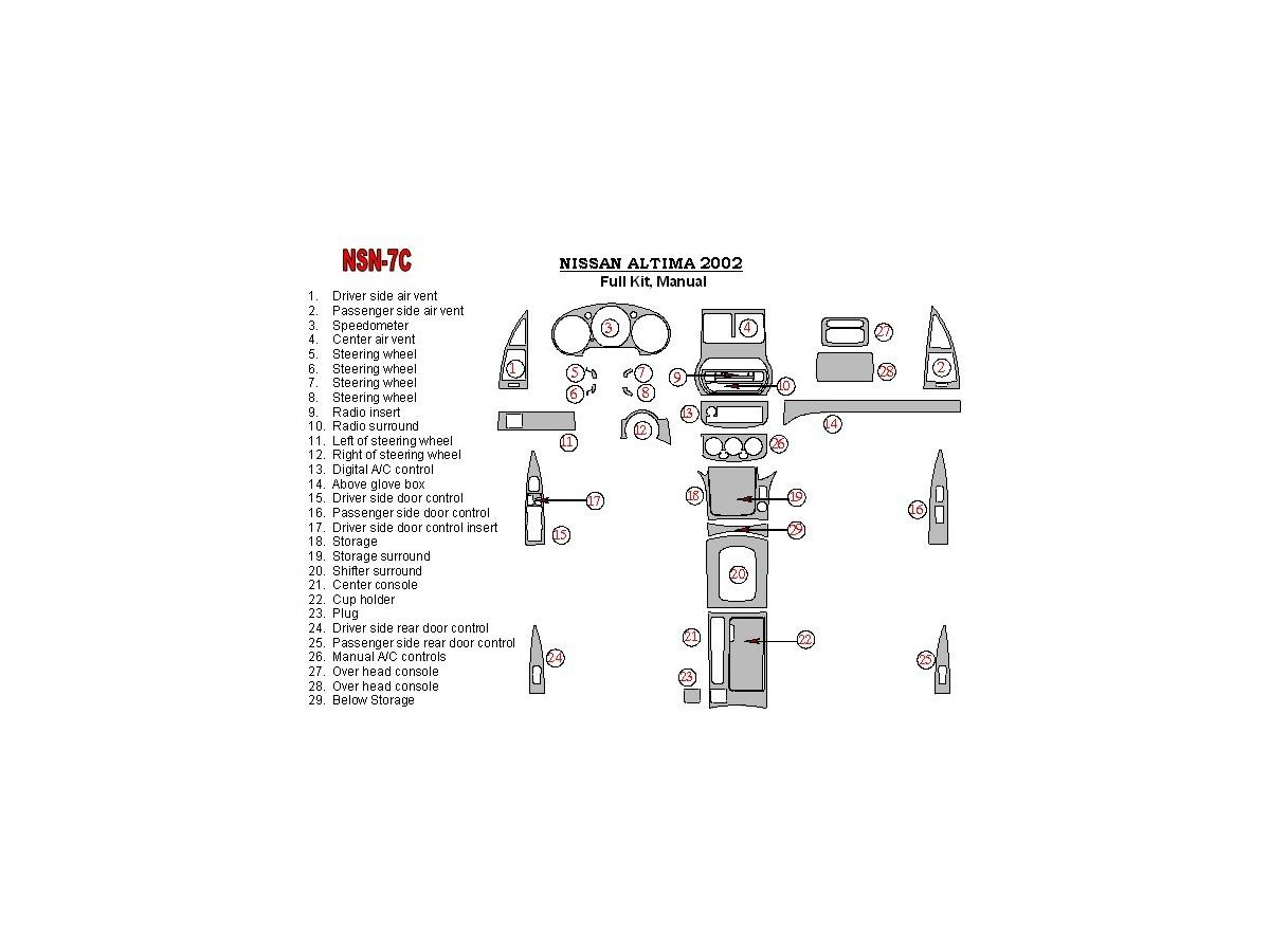 Nissan Altima 2002-2002 Full Set, Manual Gearbox, 28 Parts