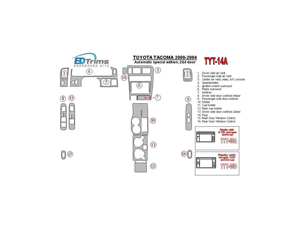 medium resolution of toyota tacoma 2000 2004 automatic gearbox special edition 2 4 doors interior bd dash trim