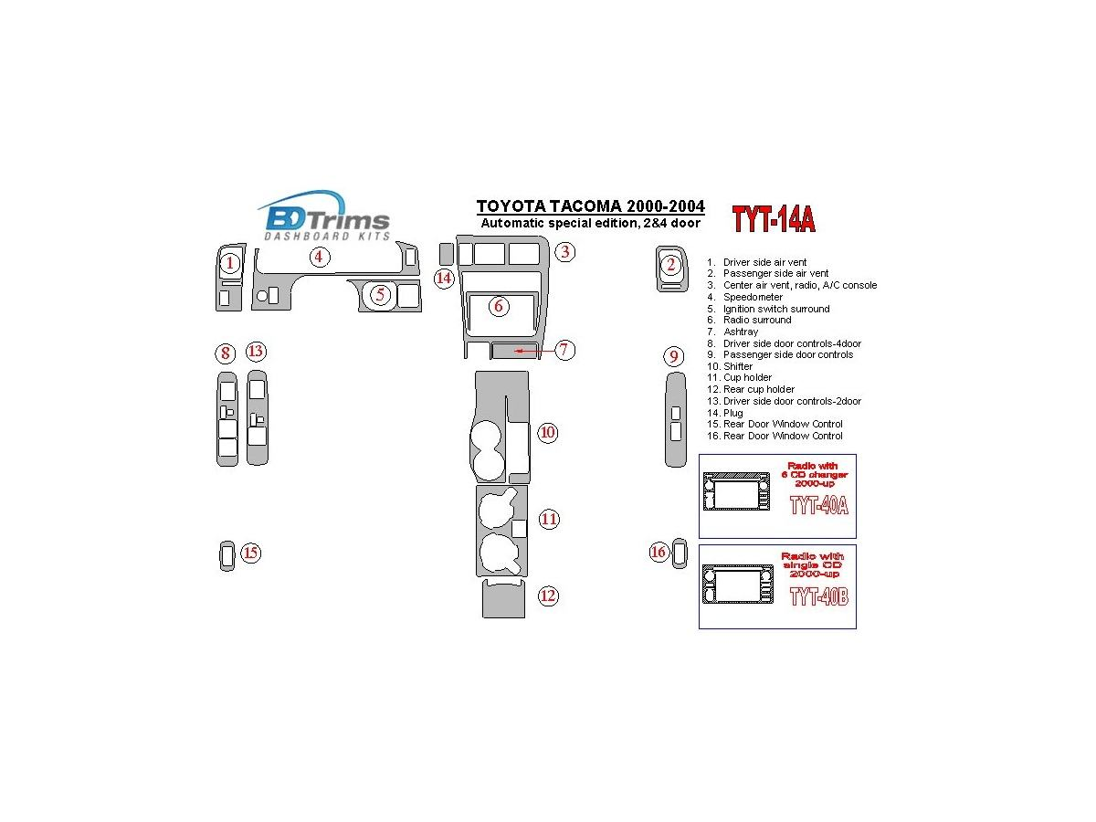 hight resolution of toyota tacoma 2000 2004 automatic gearbox special edition 2 4 doors interior bd dash trim