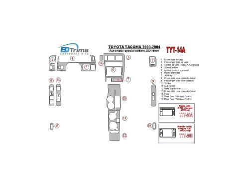 small resolution of toyota tacoma 2000 2004 automatic gearbox special edition 2 4 doors interior bd dash trim