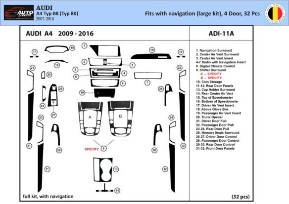Audi A3 Typ 8P 03.2003 3M 3D Interior Dashboard Trim Kit