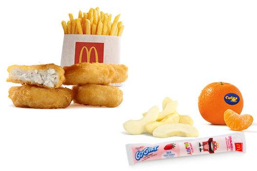 外國的開心樂園餐,可以配蘋果、橙,以及食乳酪。