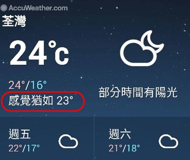 現時某些手機程式,亦有提供「體感溫度」。