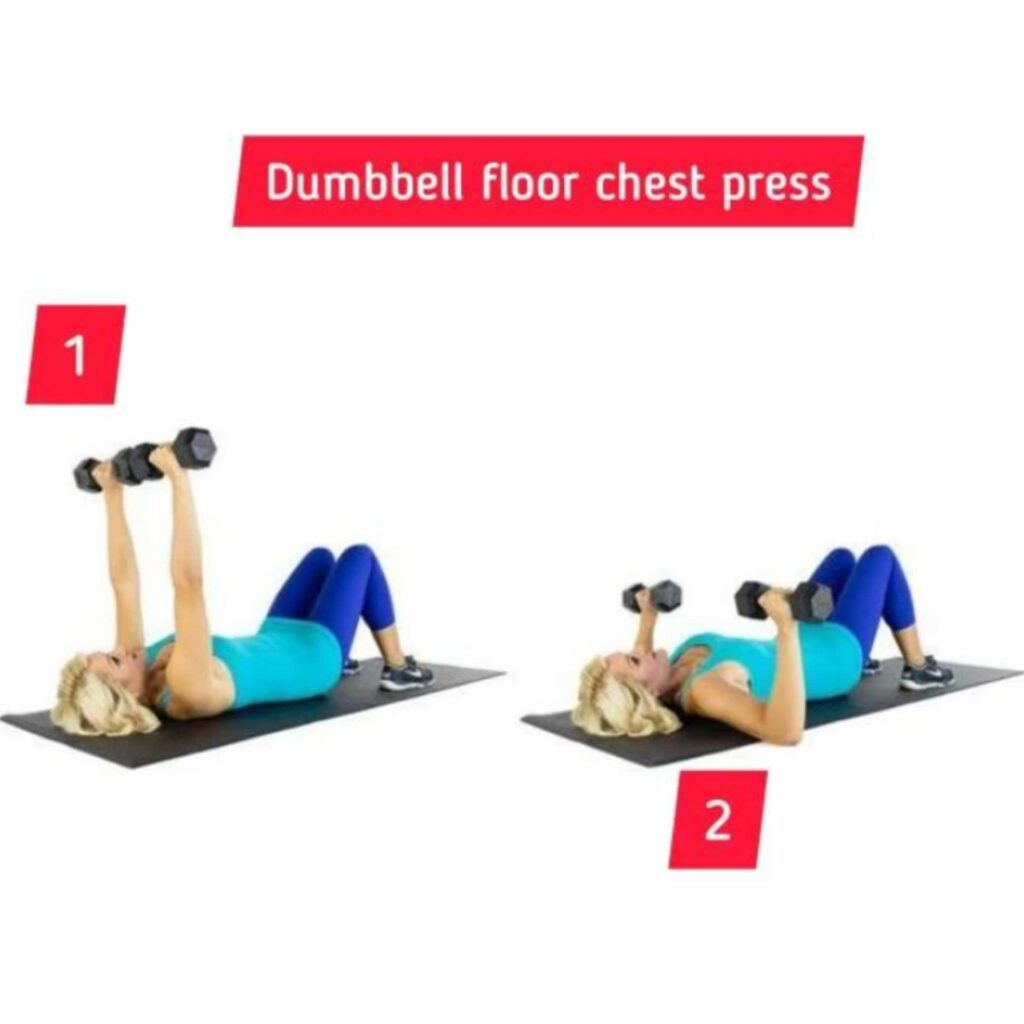 Dumbbell floor chest press – circuit training - FITZABOUT