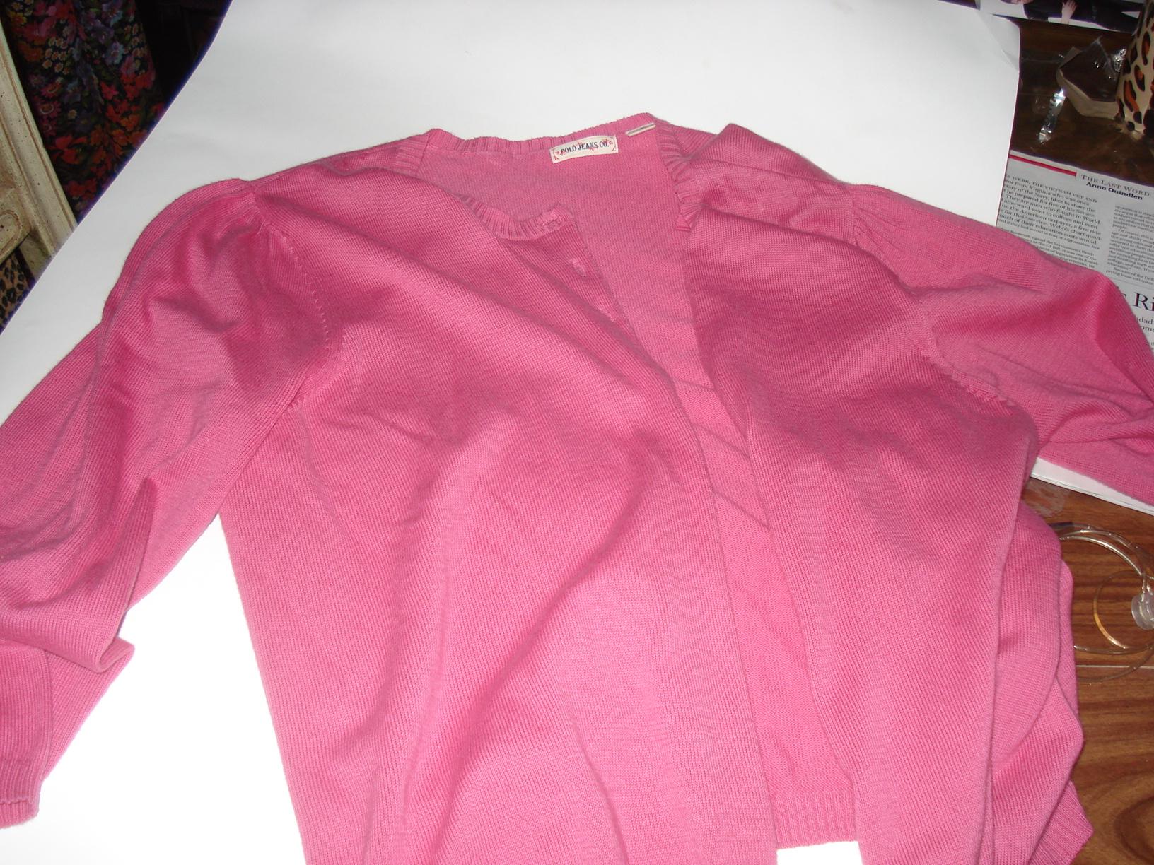 pink cardigan before