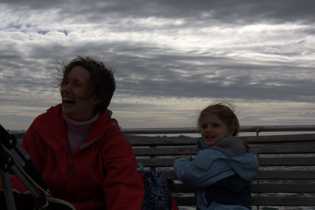 We're sitting on the deck of a ferry - in winter...