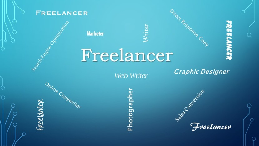 Freelancer word diagram - blue
