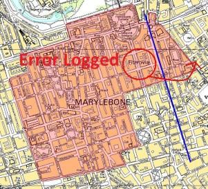 OS Map Issue - Portland Place Fitzrovia Error in Marylebone