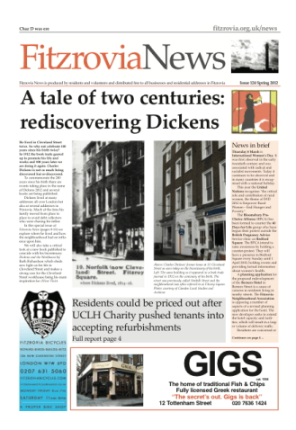 Front page of newspaper with picture of charles Dickens' house.