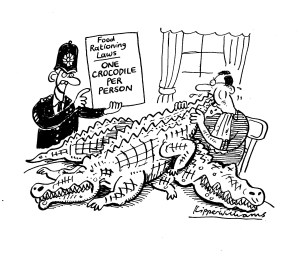 Cartoon of police officer investigating whether rationing laws were being broken