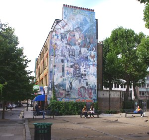 The Fitzrovia Mural on the corner of Tottenham Street and Tottenham Court Road