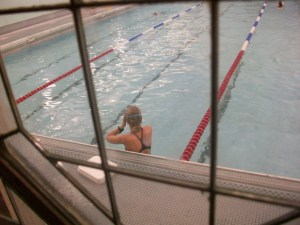 Ms Fish is pleased to the gills with the restored and re-opened 30m pool. Photo: Bath Voyeur