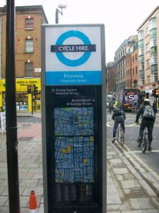 The maps on the new cycle hire station in Charlotte Street have been installed the wrong way around
