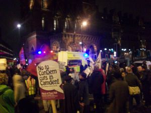 """No to ConDem cuts in Camden"" reads a placards"