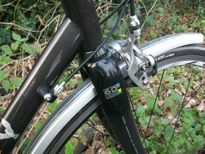 Carbon fork and brakes.