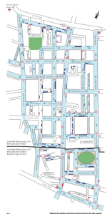 Map of controlled parking zones in Fitzrovia controlled by Camden Council.