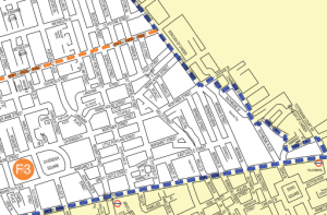 Map showing controlled parking zone F3 in Fitzrovia.