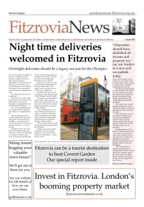 Front cover of 1 April 2012 Fitzrovia News showing legible London sign.