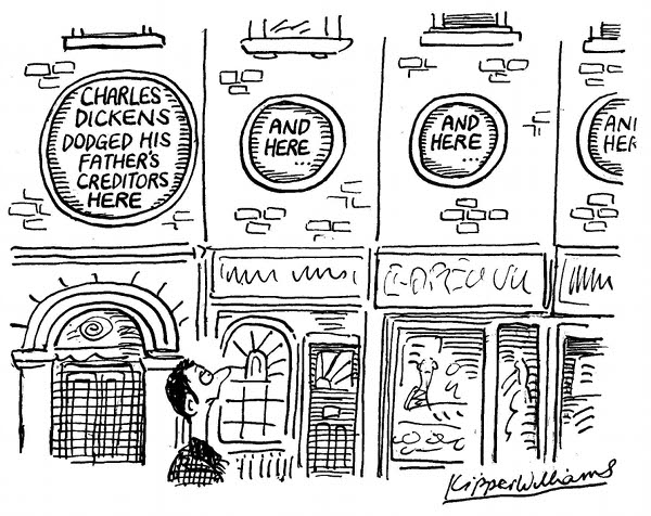 Cartoon showing blue plaques on every building.