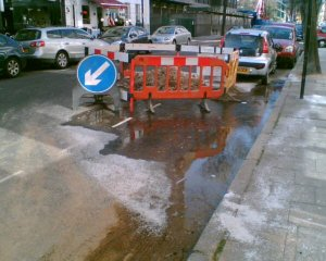 Water mains leak