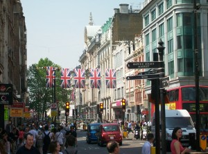 Union Flags hanging in Oxford Street.