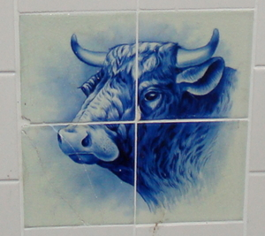 A ceramic tiles with bull's head.