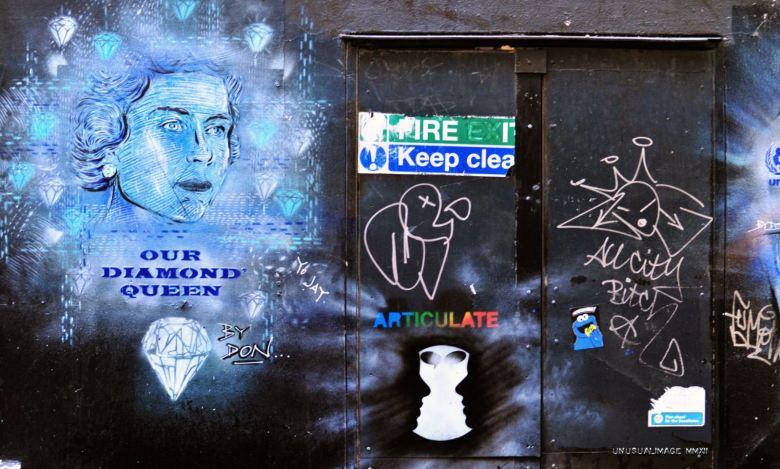 Graffiti on wall.