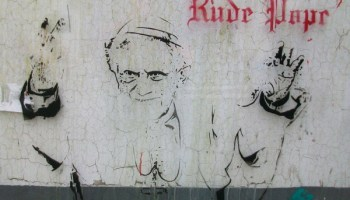 Stencilled art. Rude Pope by Bambi.